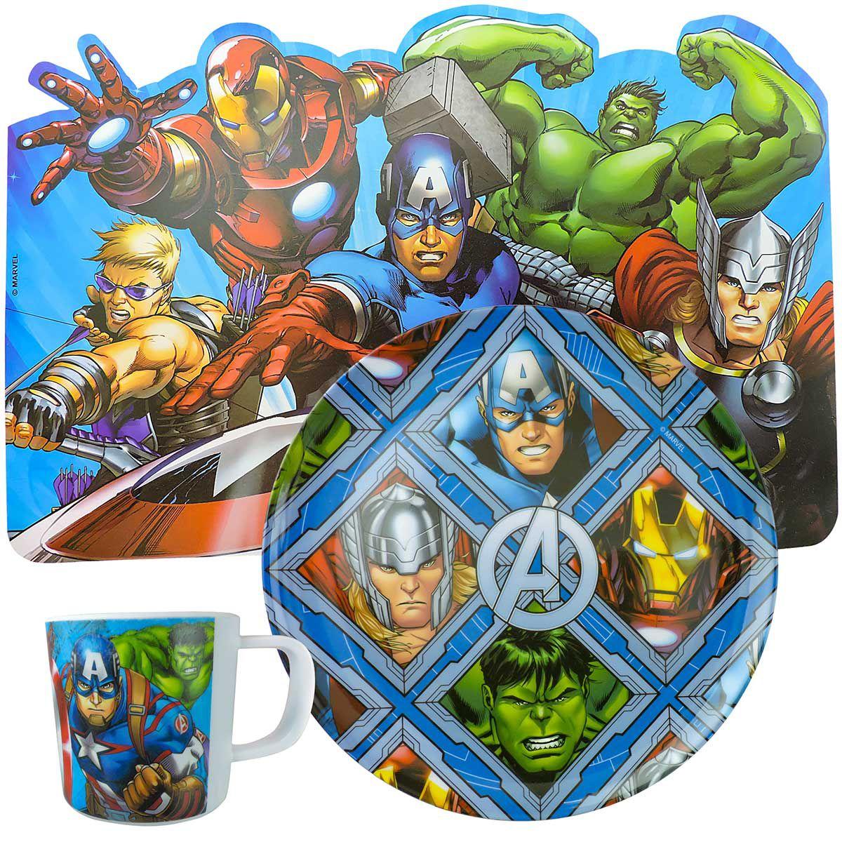Kit Refeição Infantil com Prato Caneca e Jogo Americano Vingadores Marvel