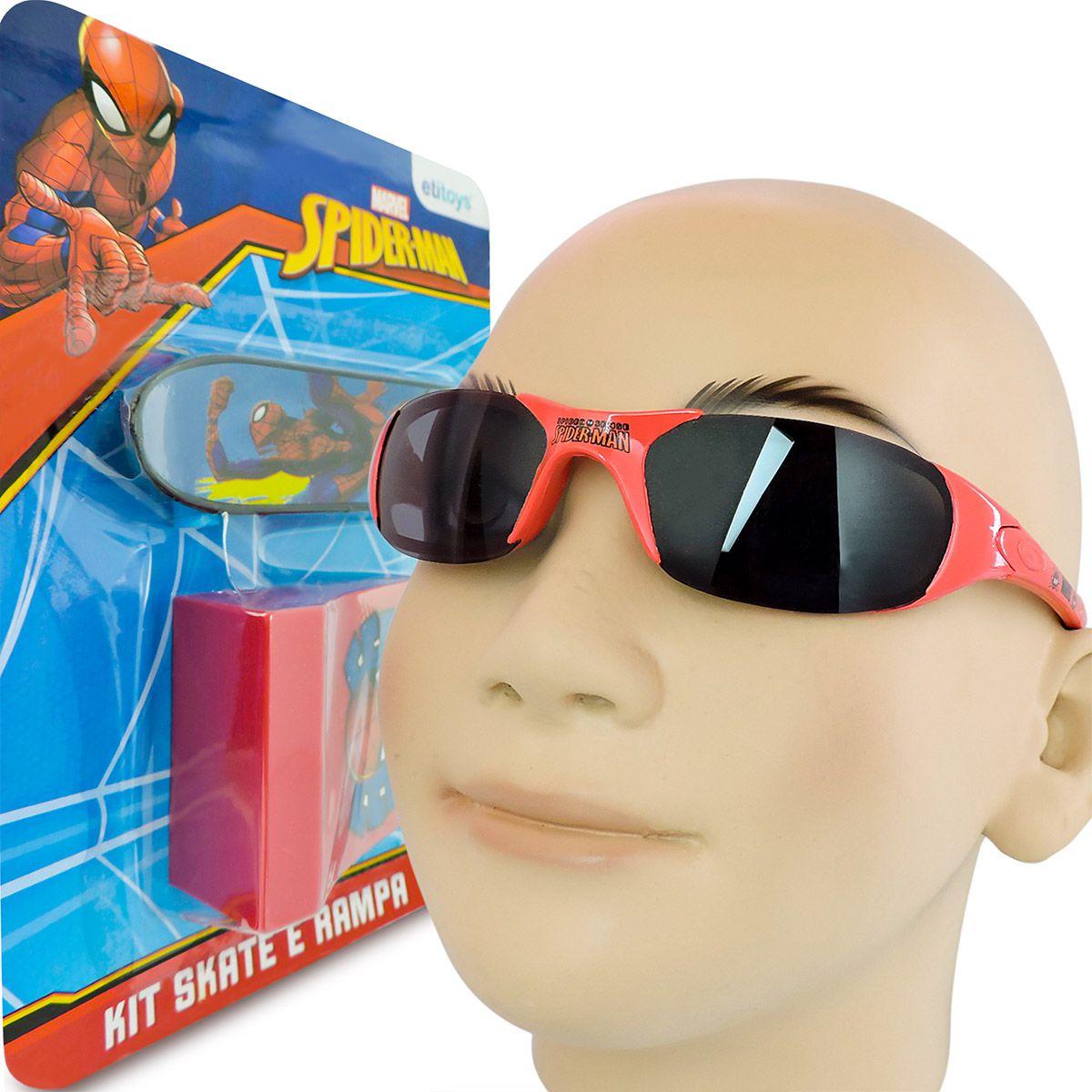 Homem Aranha Skate De Dedo Com Rampa Mais Óculos De Sol Marvel