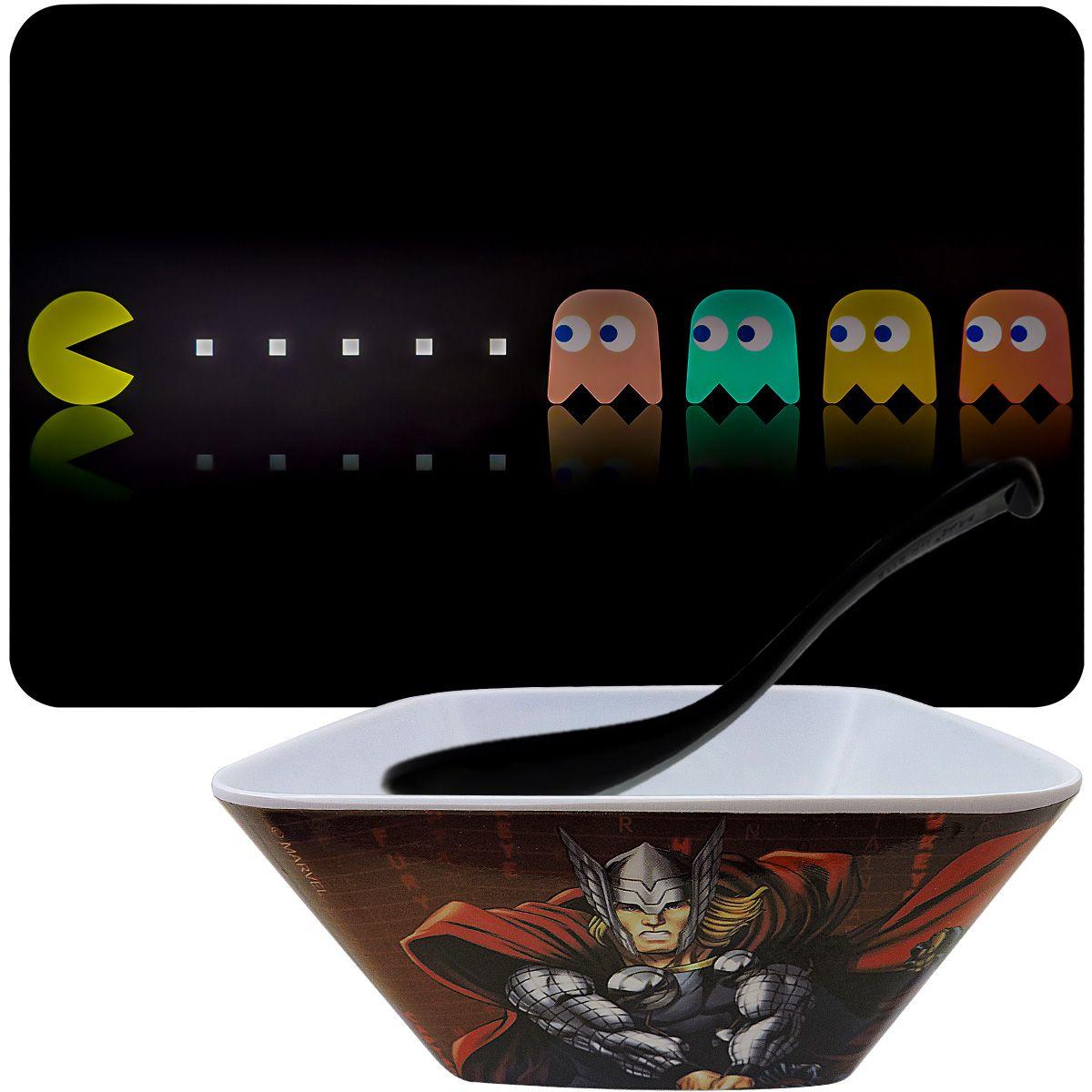 Jogo Americano Pac Man com Tigela Quadrada Vingadores e Talher