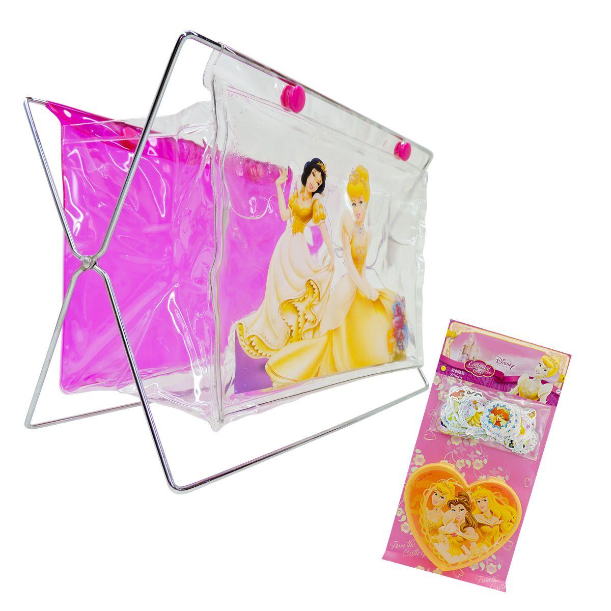 Kit Com Porta Treco E 100 Mini Adesivos Princesas Disney