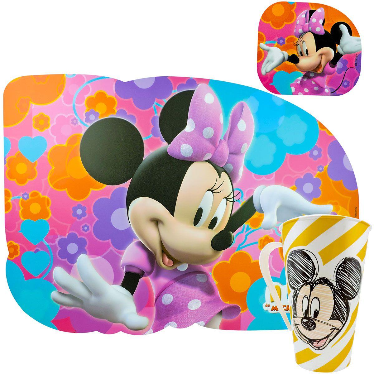 Kit Refeição Infantil Caneca e Jogo Americano Mickey e Minnie Disney