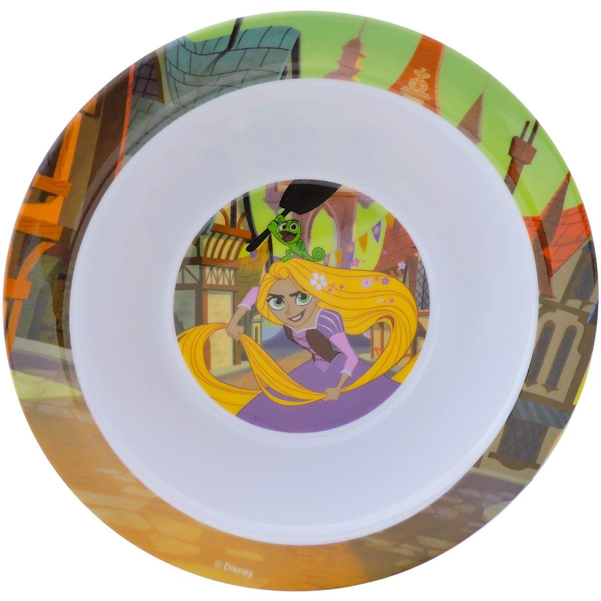 Kit Refeição Infantil com 2 Pratos e 1 Tigela Rapunzel Enrolados Princesas Disney Junior