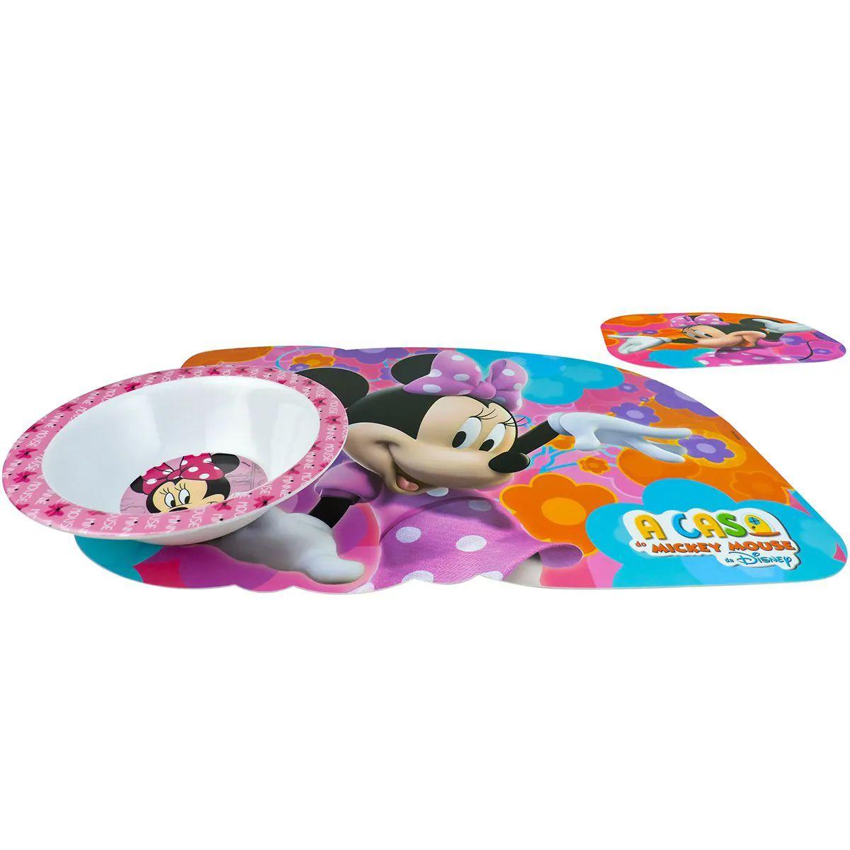 Kit Refeição Infantil Minnie Tigela e Jogo Americano Disney