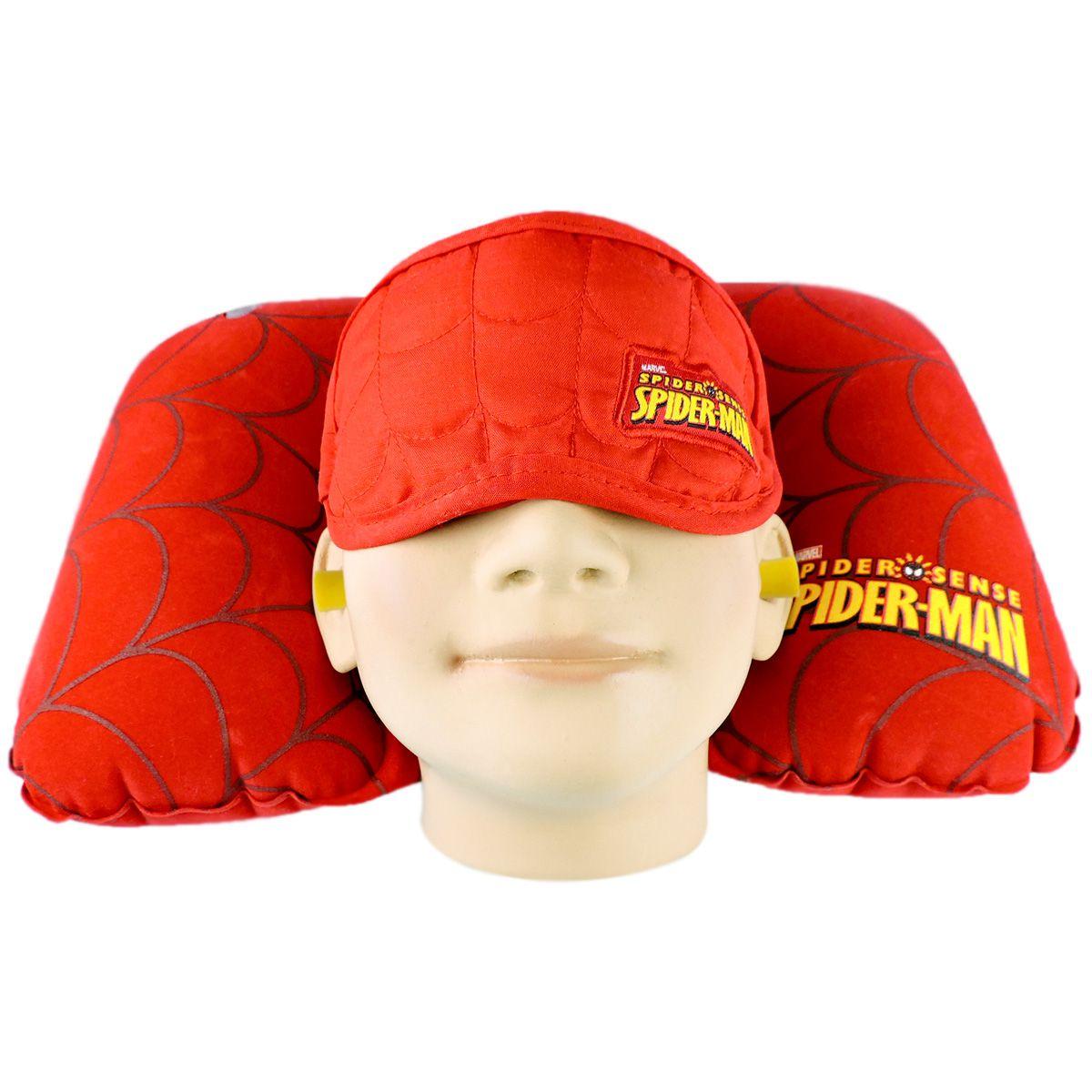 Kit Viagem Almofada de Pescoço Máscara Homem Aranha e Protetor Auricular