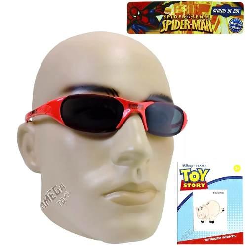 Óculos De Sol Infantil Homem Aranha Brinde Tatuagem Pig - Omega Toys 0dbff11620