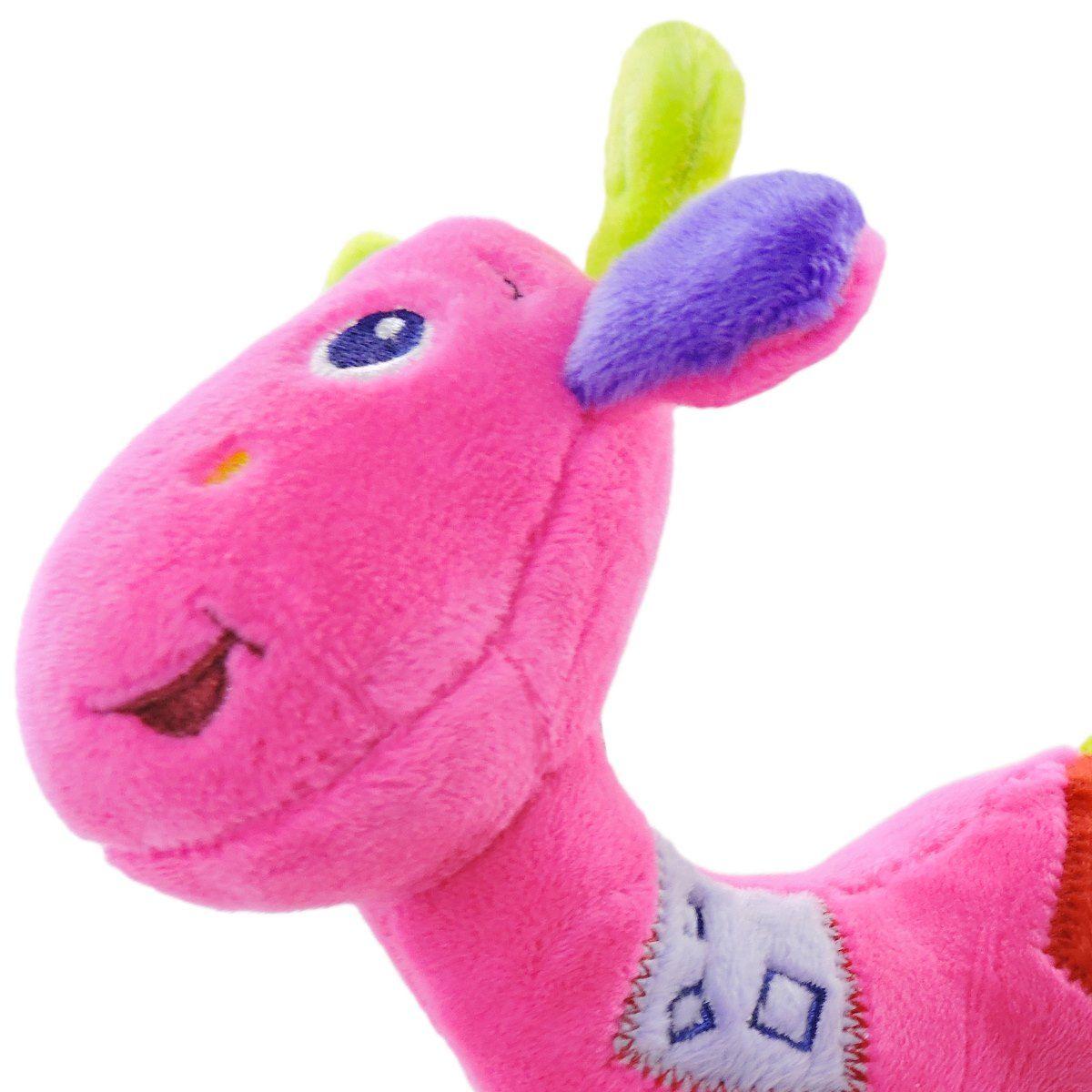 Pelúcia Girafa Com Chocalho Infantil Girafa Rosa - Unik Toys