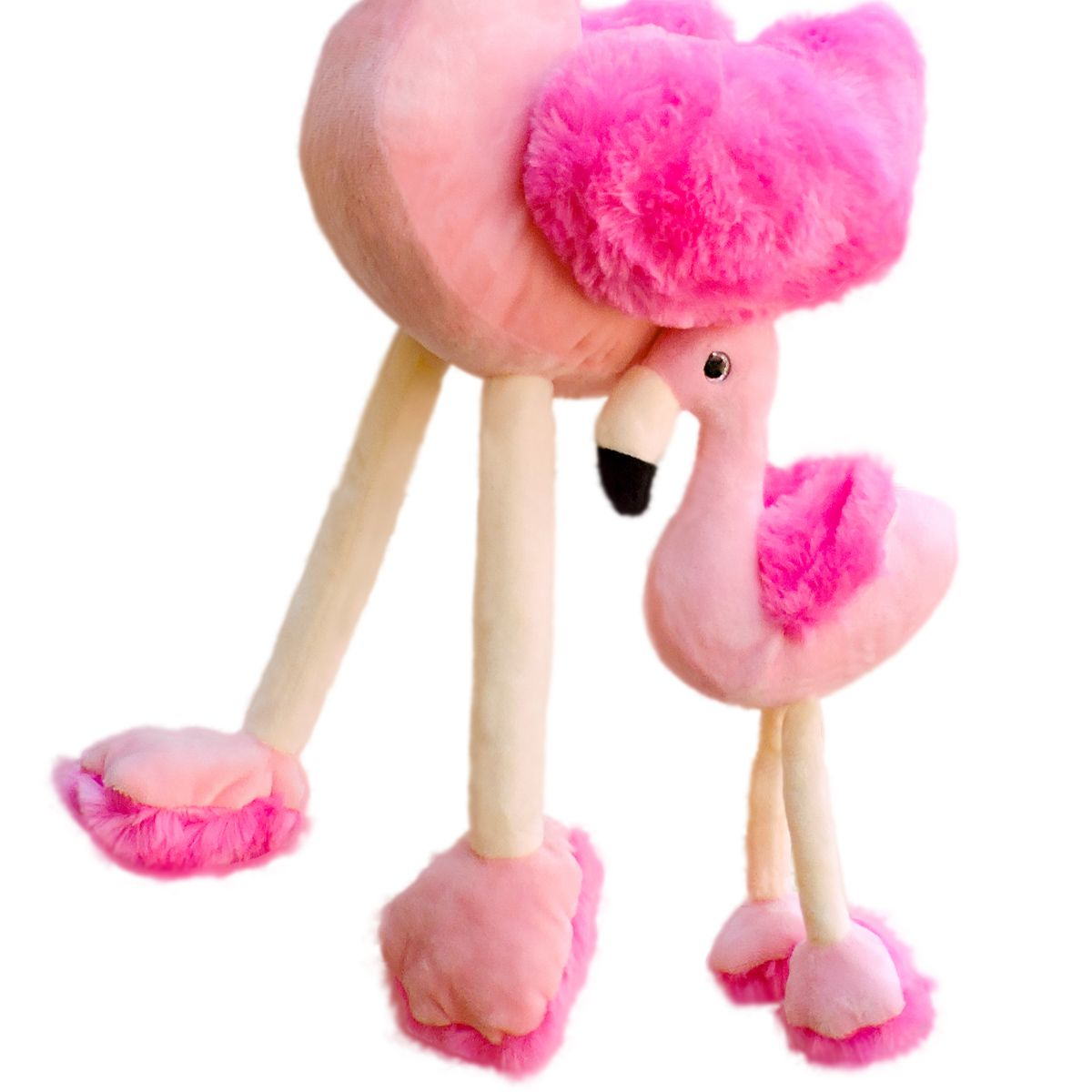 Pelúcia Flamingo com Filhote Altura 54 cm Macios e Fofinhos