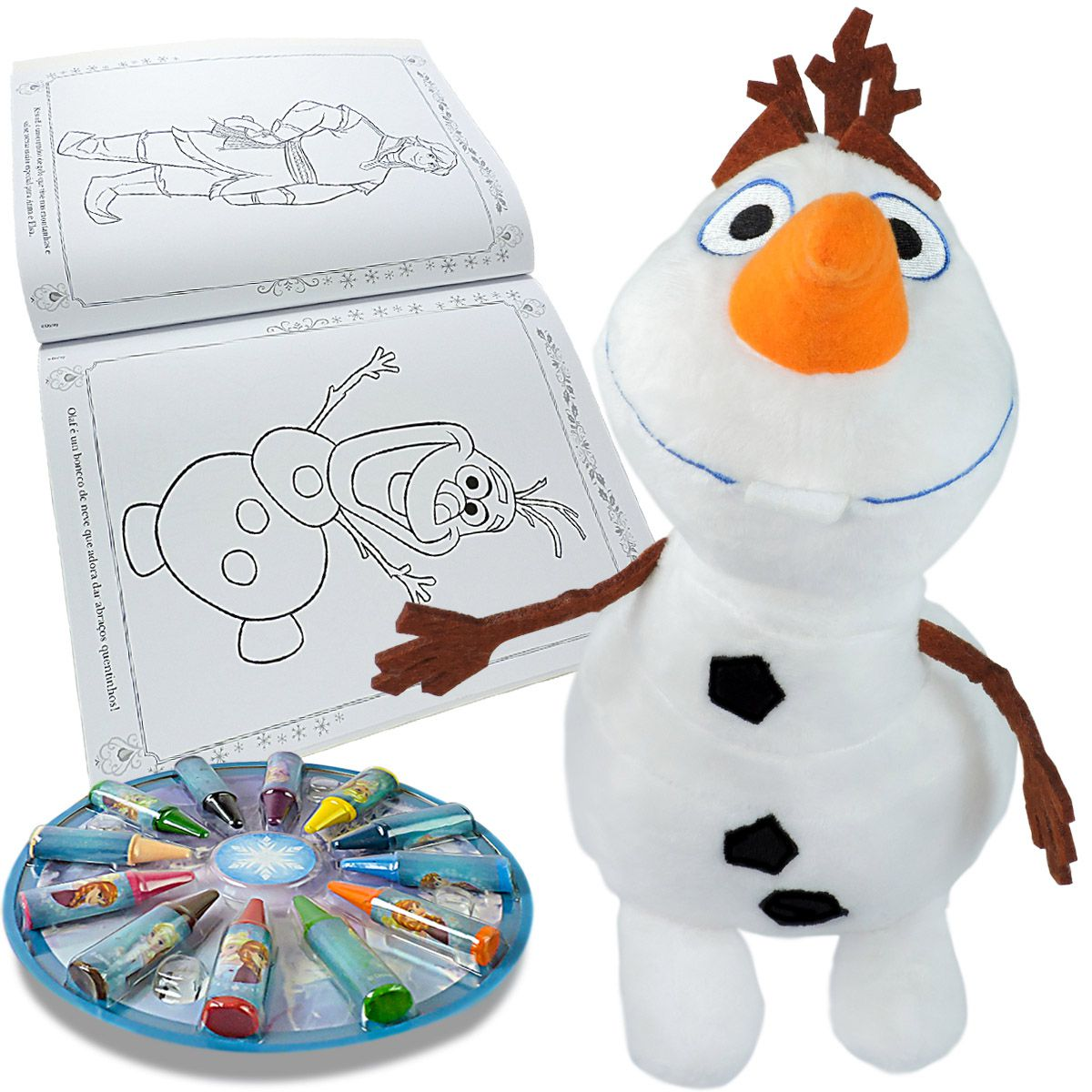 Pelúcia Olaf mais Livro para Colorir Frozen com 12 Giz de Cera