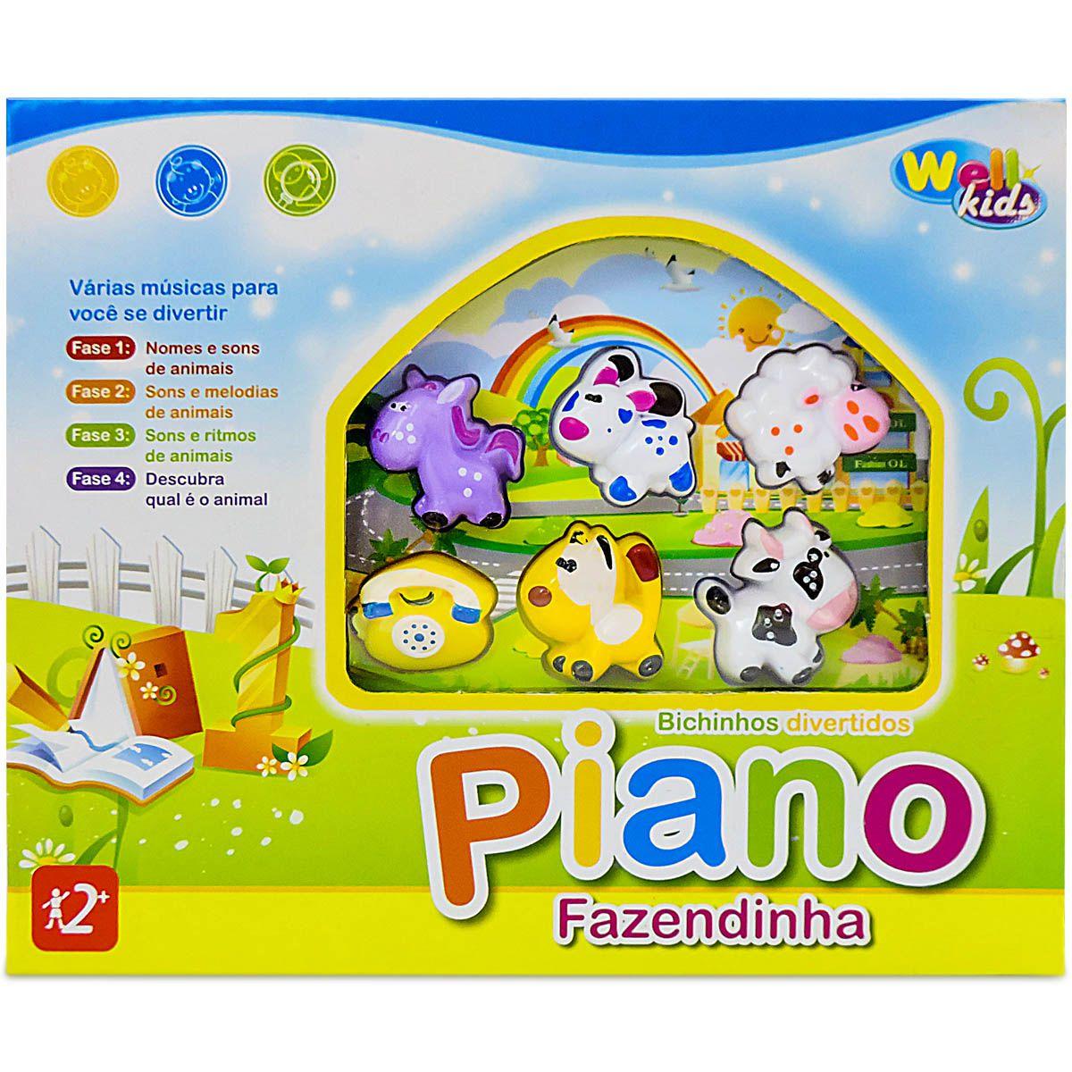 Piano Musical Infantil Fazendinha Sons De Animais E Luz