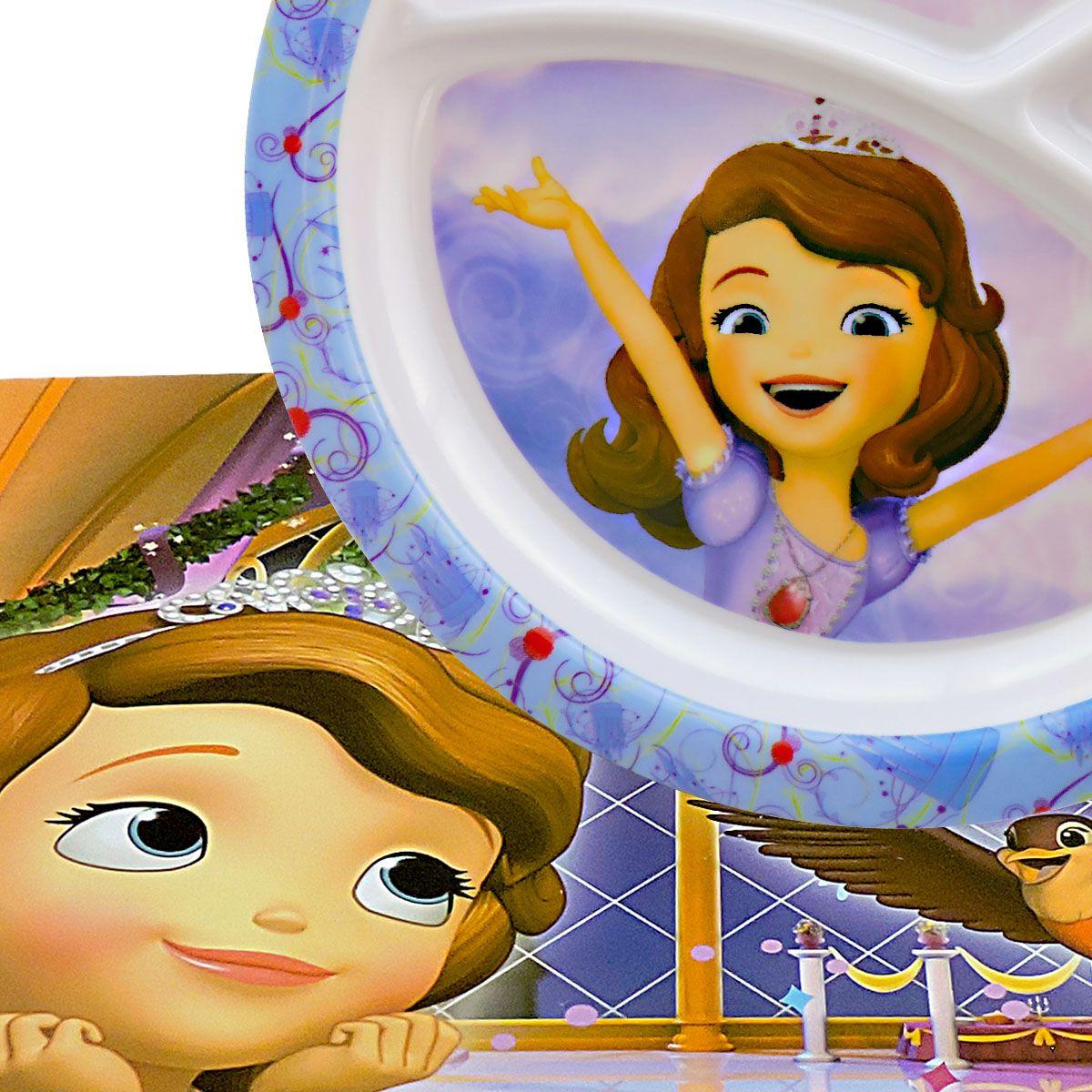 Prato Infantil Com Divisórias com  Jogo Americano Princesa Sofia