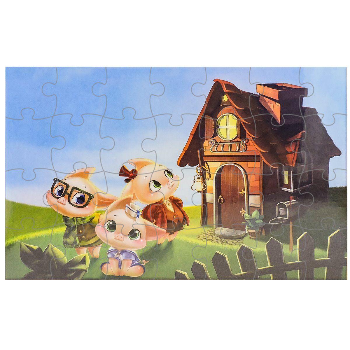 Quebra Cabeça Os 3 Porquinhos 24 Peças - Pais e Filhos