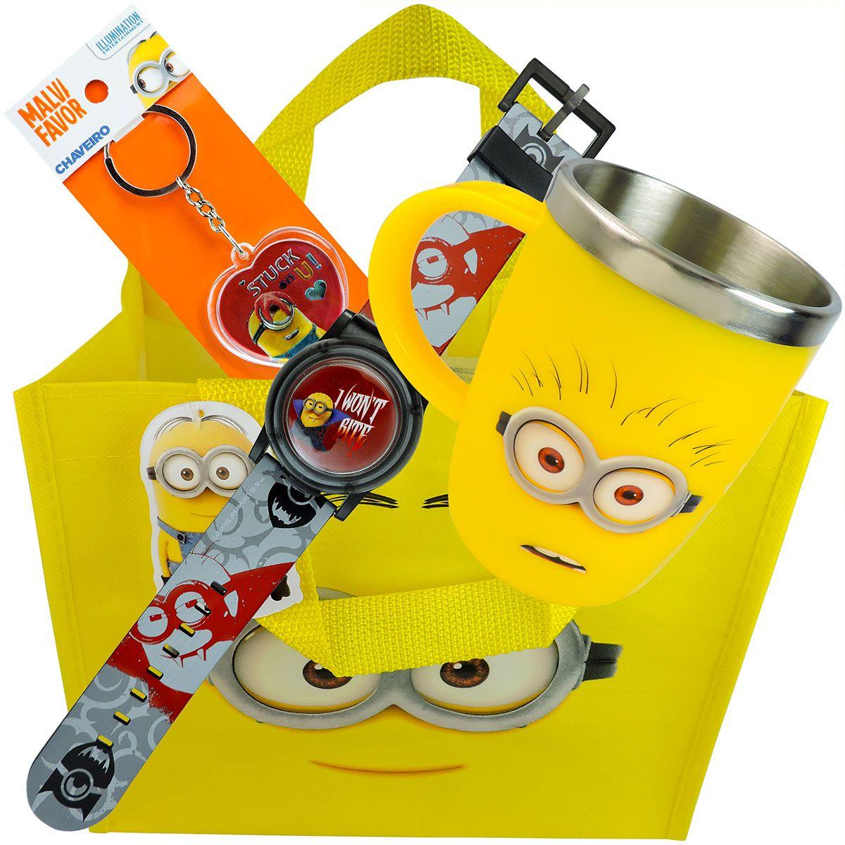 Relógio De Pulso Minions + Caneca Térmica + Chaveiro + Sacola