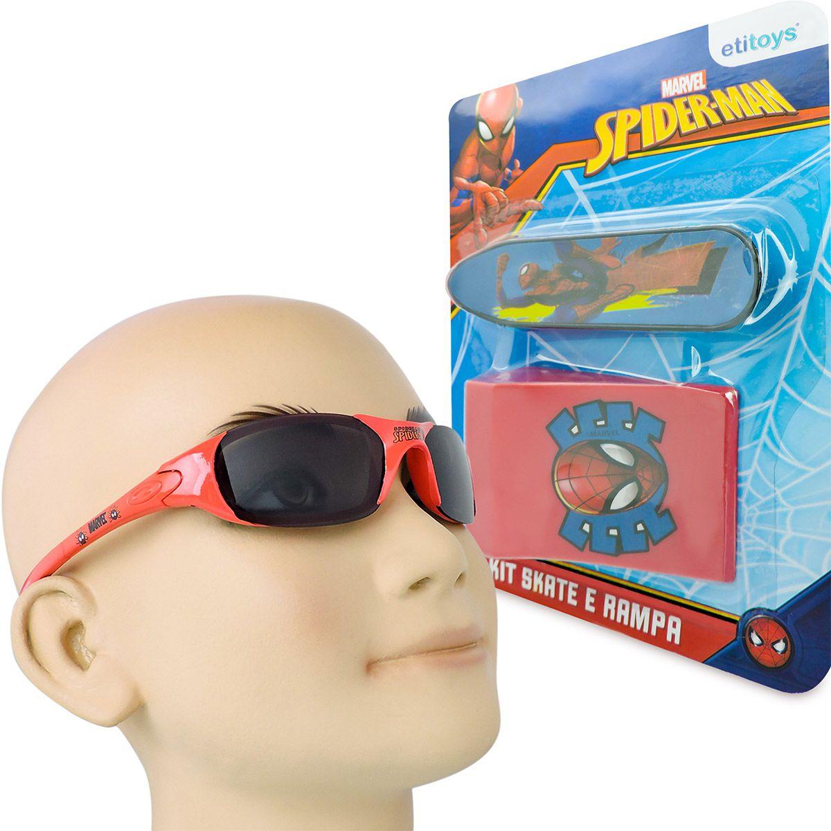 Skate De Dedo Com Rampa Mais Óculos De Sol Homem Aranha