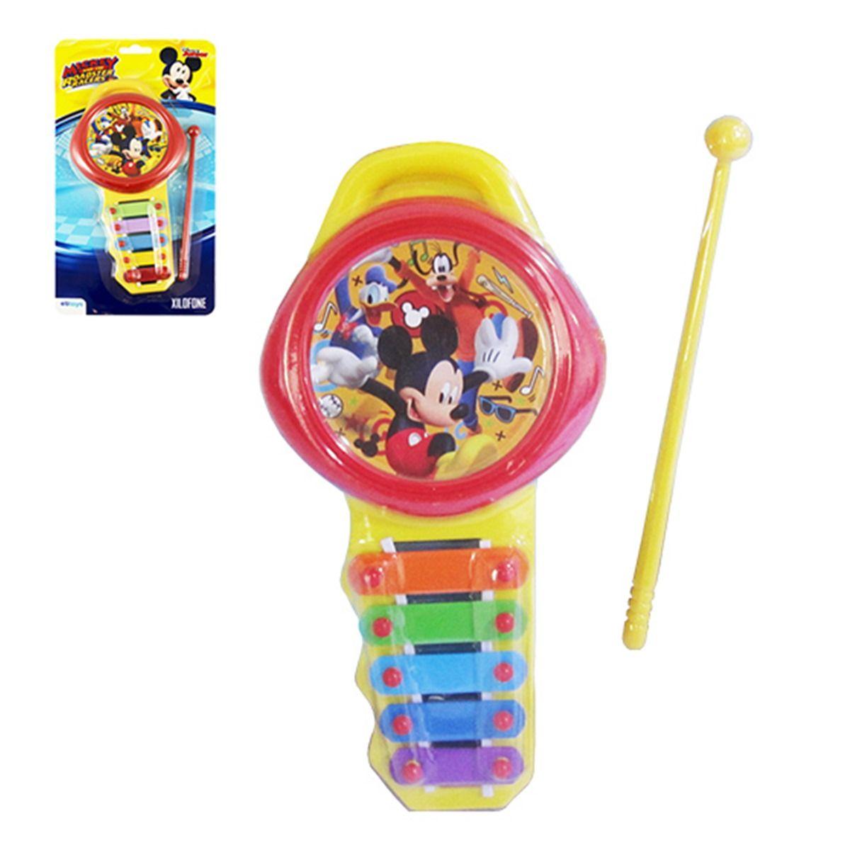 Xilofone Musical Mickey 5 Teclas de Metal Coloridos Disney
