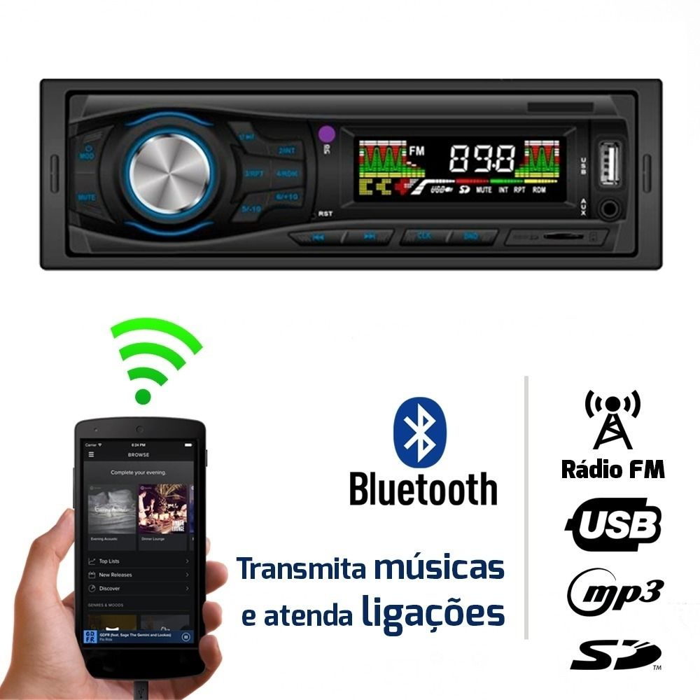 Auto Radio Tiger Mp3 Player Fm Bluetooth Usb Sd 2 Saídas Rca
