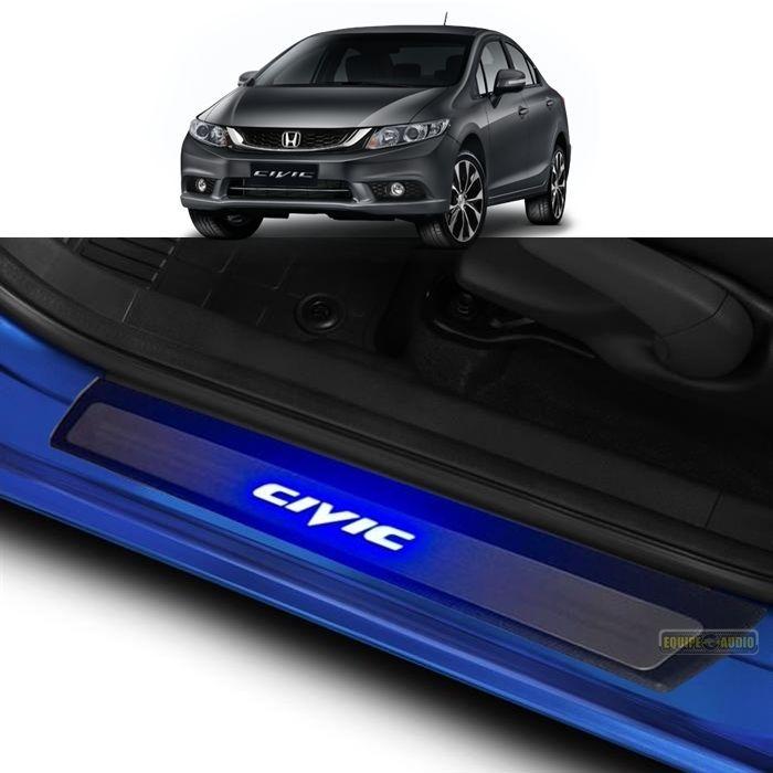 Soleira de porta Civic Led Azul Aço Inox Premium 2007 A 2016 Honda