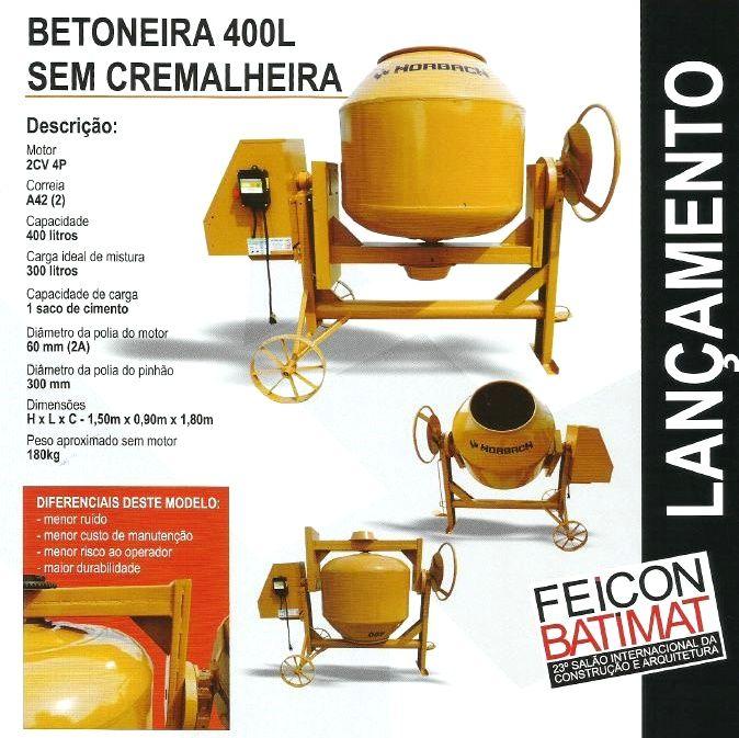Betoneira 400 L - S/ Cremalheira  - HORBACH   - MCZ FORTES