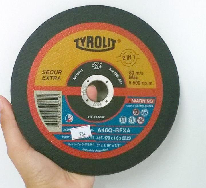 Disco de Corte Secur Extra - 180 x 1,6 x 22,2 mm - TYROLIT