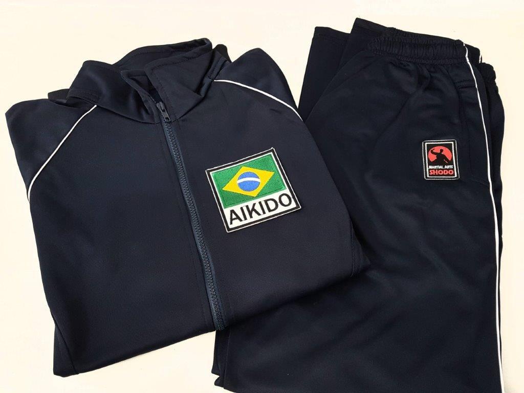 Agasalho Aikido Brasil Martial Arts Shodo nas cores: Preto ou Azul escuro