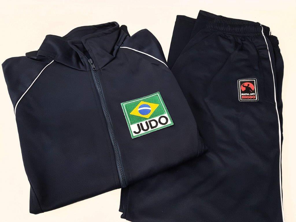 Agasalho Judo Brasil Martial Arts Shodo nas cores: Preto ou Azul escuro