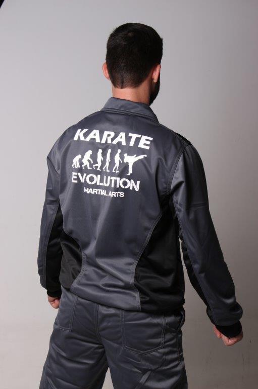Agasalho Karate Shotokan Evolution Cinza detalhes preto