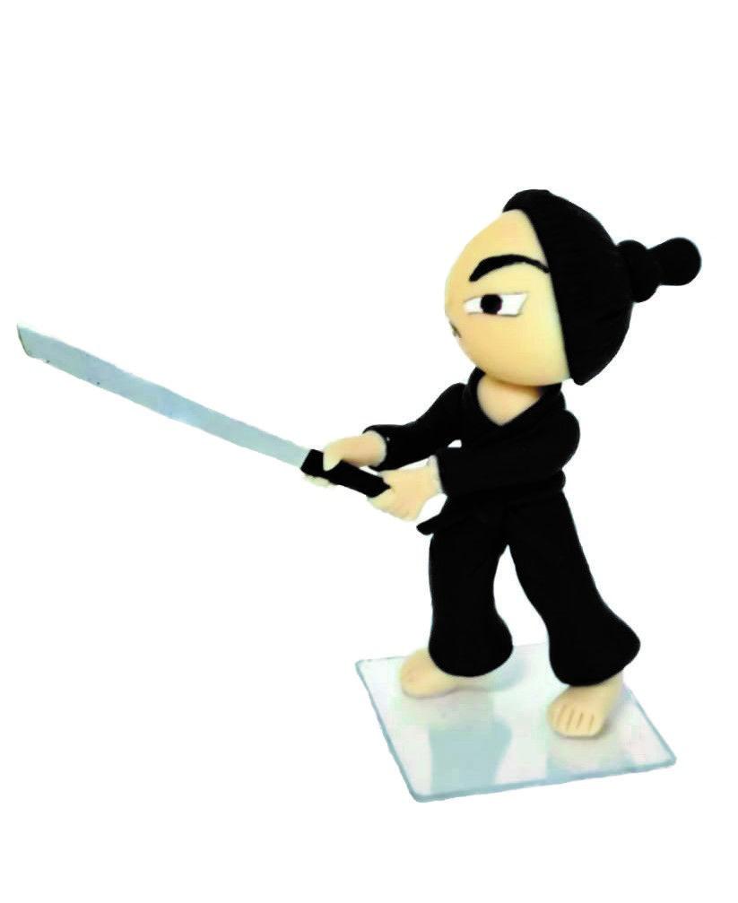 Boneco em Biscuit Samurai Tamanho 8,5 cm