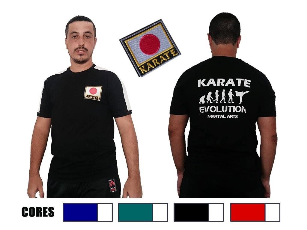 Camiseta Karate Evolution c/bordado Japão peito
