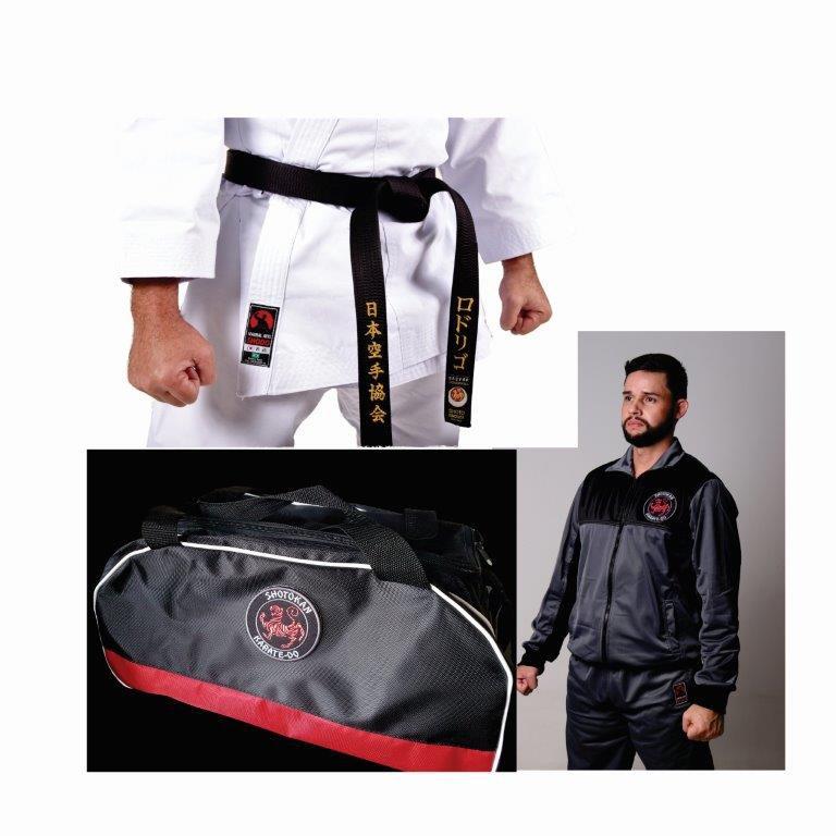 Kit Evolution 1 Kimono Karate PA Premium + 1 Agasalho Karate Evol Cinza/preto+ 1 Bolsa Shotokan
