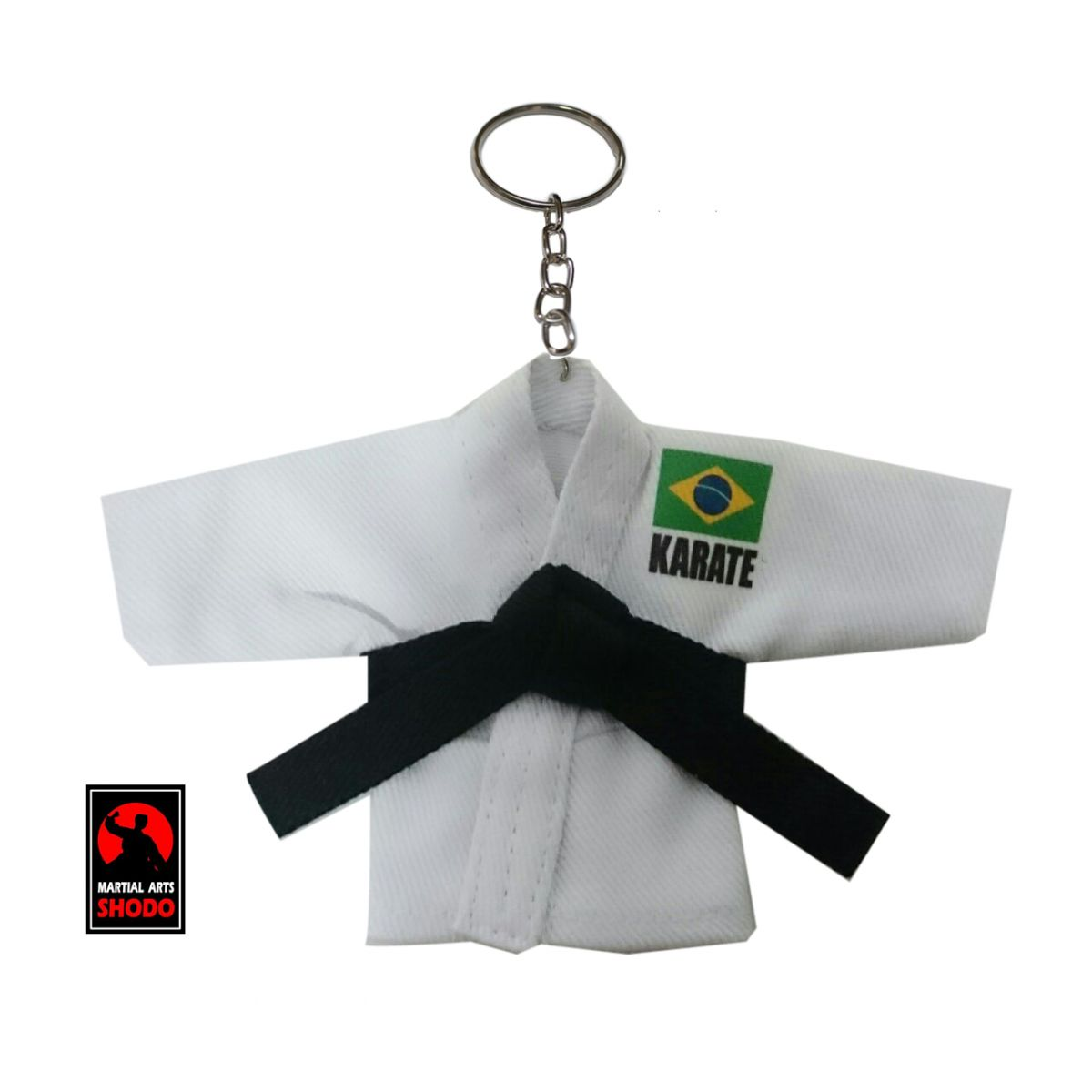 Mini Kimoninho Branco Karate Brasil c/corrente e argola