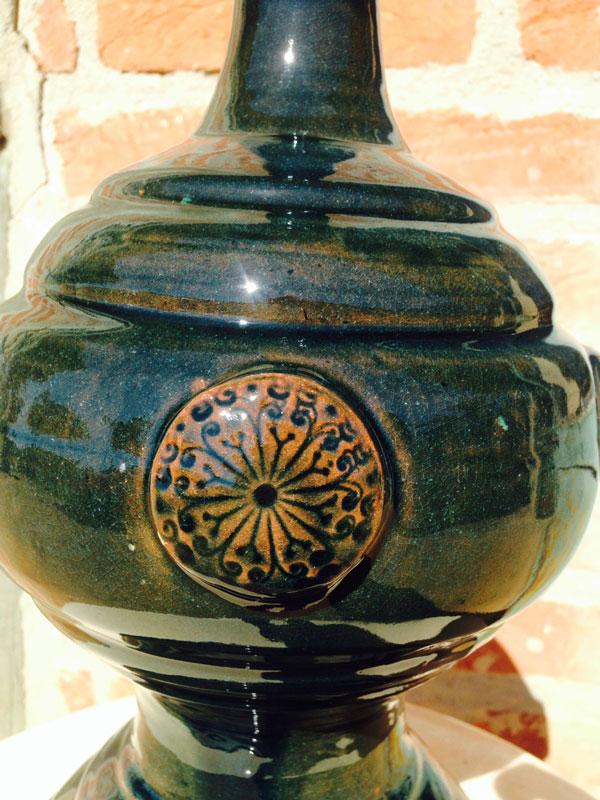 Anfora Lampião Detalhes com Buda - Verde Chinês