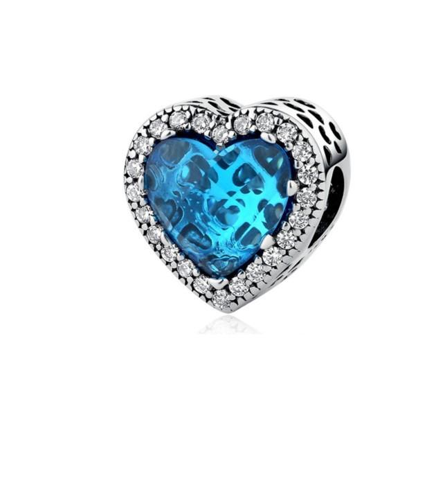 Berloque Coração Brilho Azul