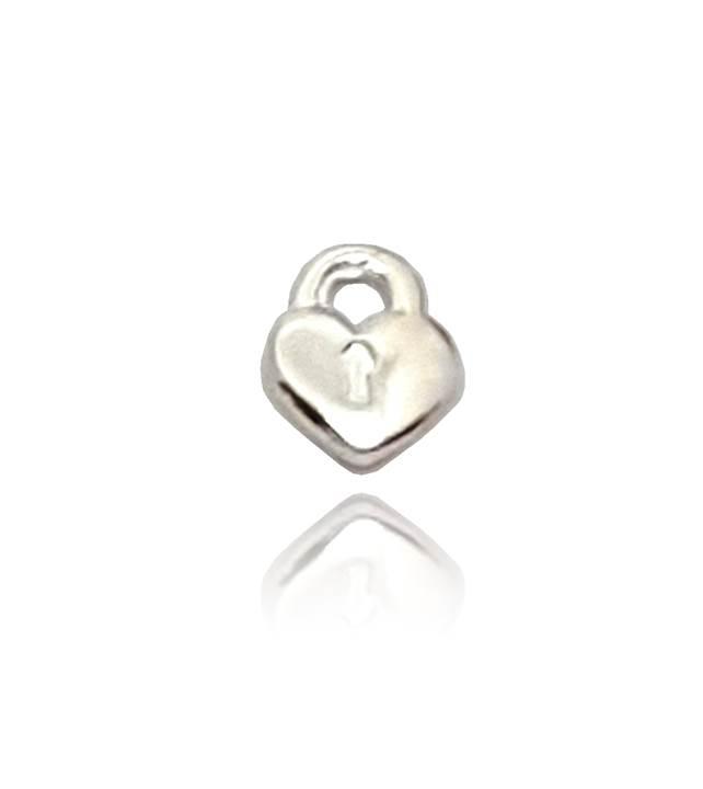 Mini Charm Coração Cadeado