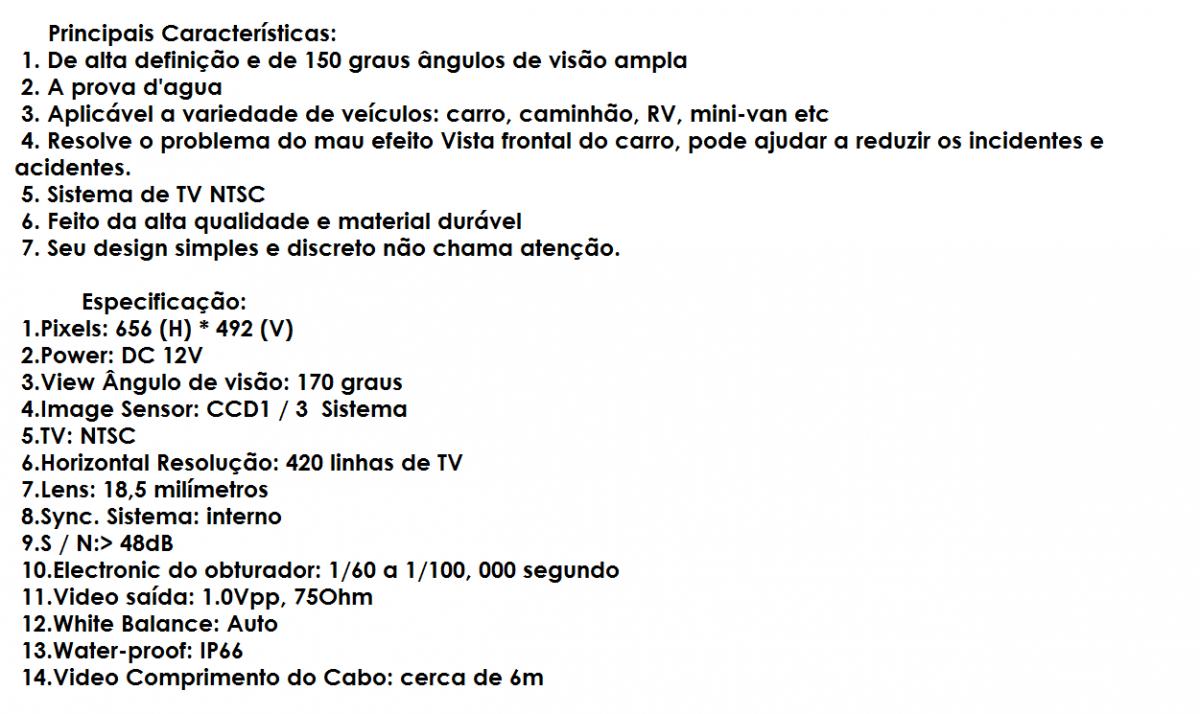 Camera De Ré Automotiva Estacionamento Gps Dvd Ccd 1/3