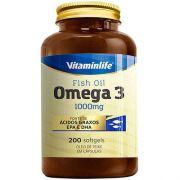 Omega 3 1000mg Óleo de Peixe em Cápsulas 200 softgels - REG. MS: 6.4845.0010