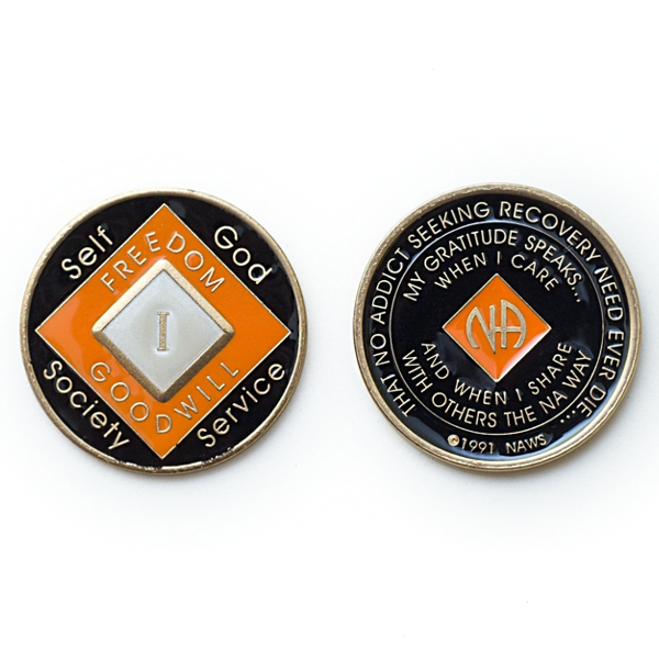 Medalhão triplate Orange/Black/Pearl EN-6900
