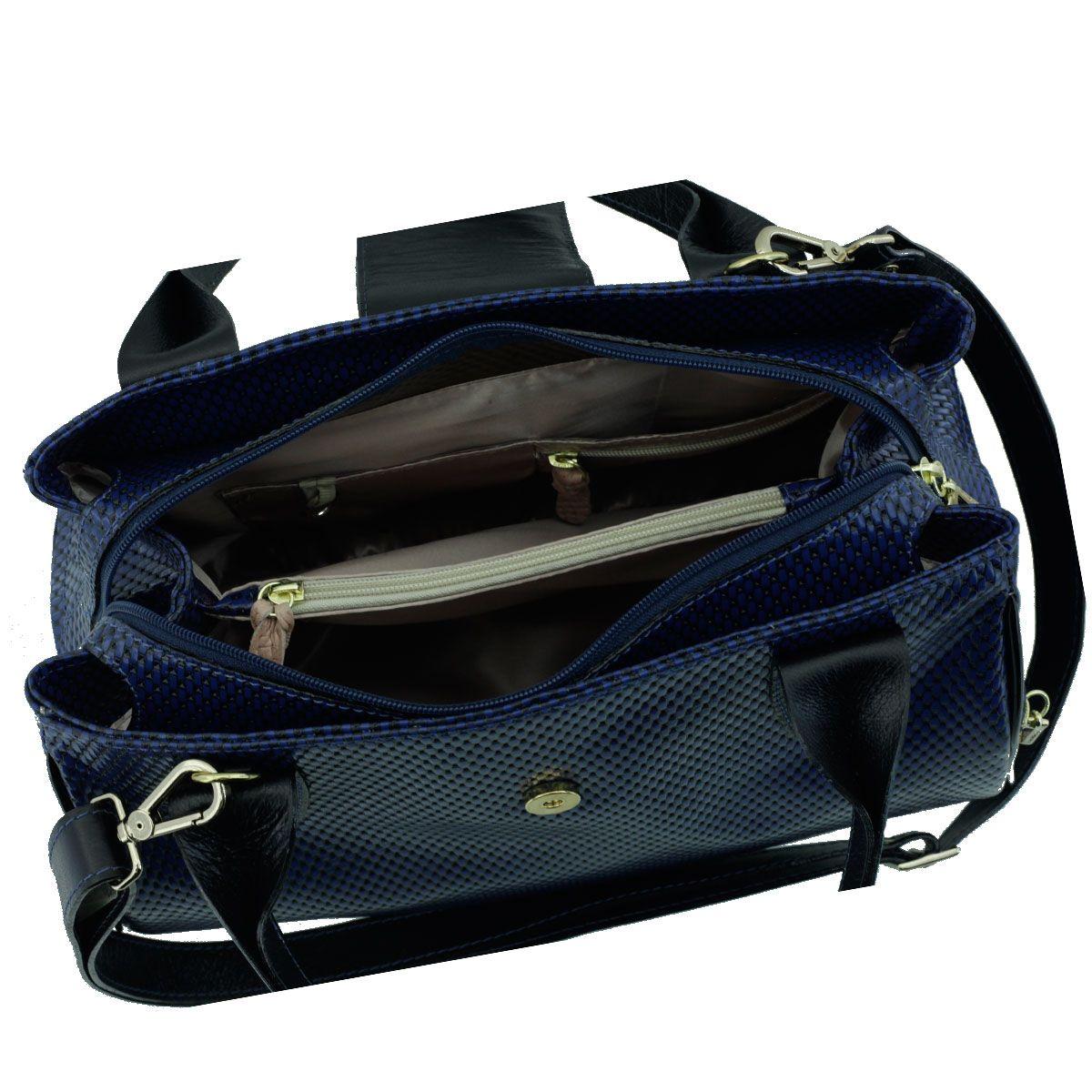 Bolsa em Couro com Divisórias Azul