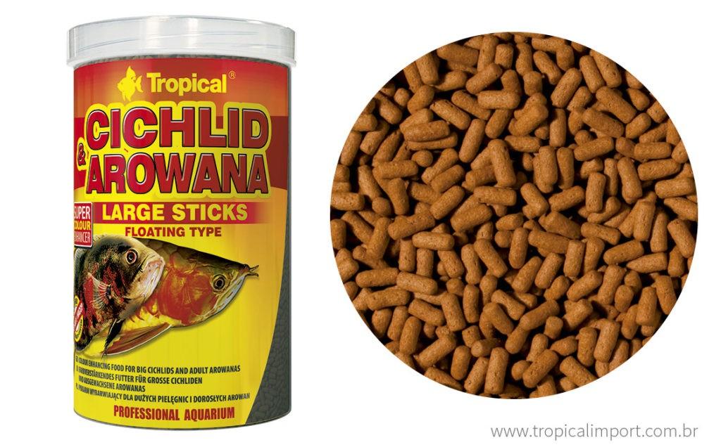 TROPICAL CICHLID & AROWANA Large Sticks 75g  - Aquário Estilos