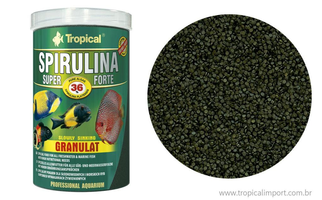 Tropical Spirulina Super Forte Grão Pote 60g  - Aquário Estilos