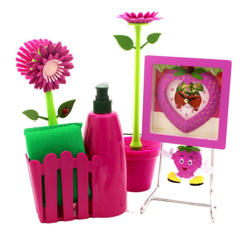 Ditudotem Conjunto Pia Flor Cozinha Banheiro Rosa Amarelo Utensílio Relógio d -> Pia Banheiro Amarela