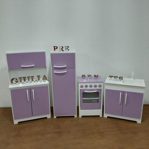 Kit Cozinha Infantil 4 Peças em Mdf