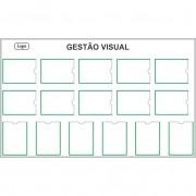 Quadro de Gestão Visual 180x110 cm com 16 Displays PETG Magnético - Clace 1 UN