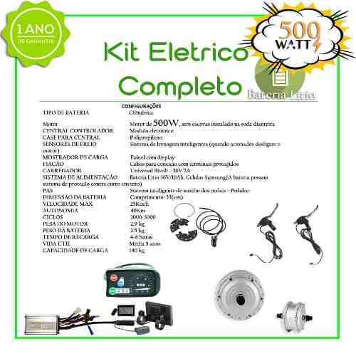 Kit Elétrico 500 Watts P/bike Bat Litio (rabeira)