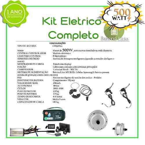 Kit Elétrico 500 Watts P/bike Bat Litio (rabeira) + Aro