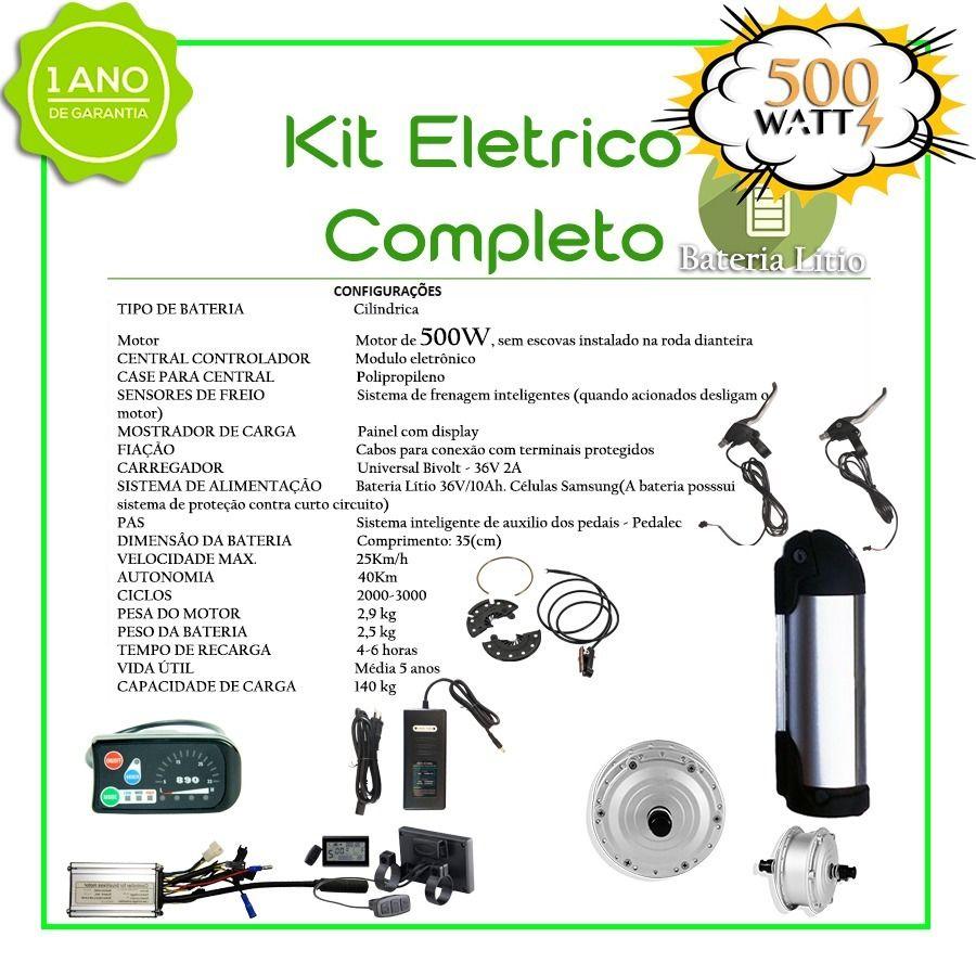 Kit Elétrico 500 Watts P/bike Bat Litio + Aro