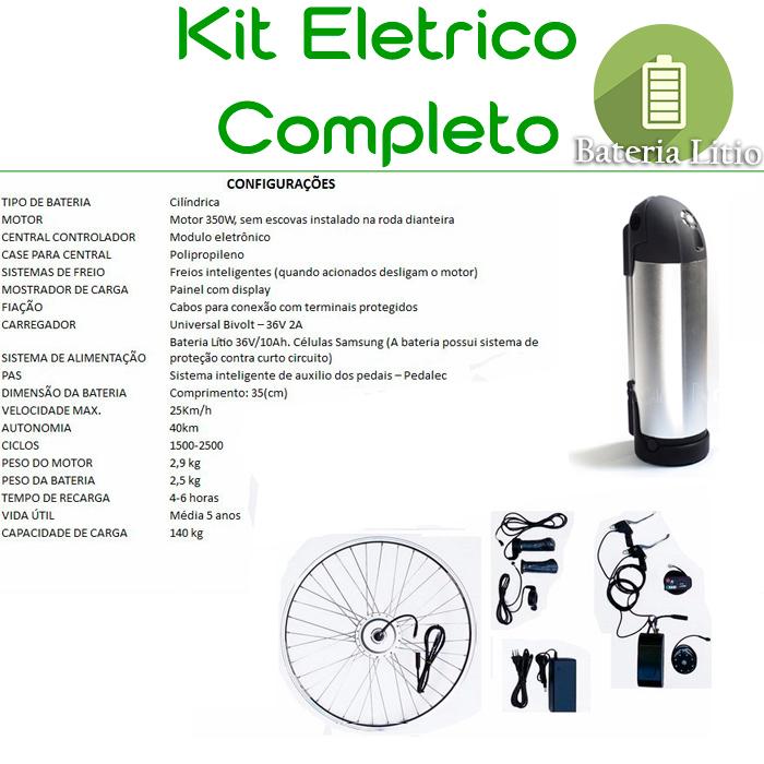 Kit Elétrico TecBike Cilindrico