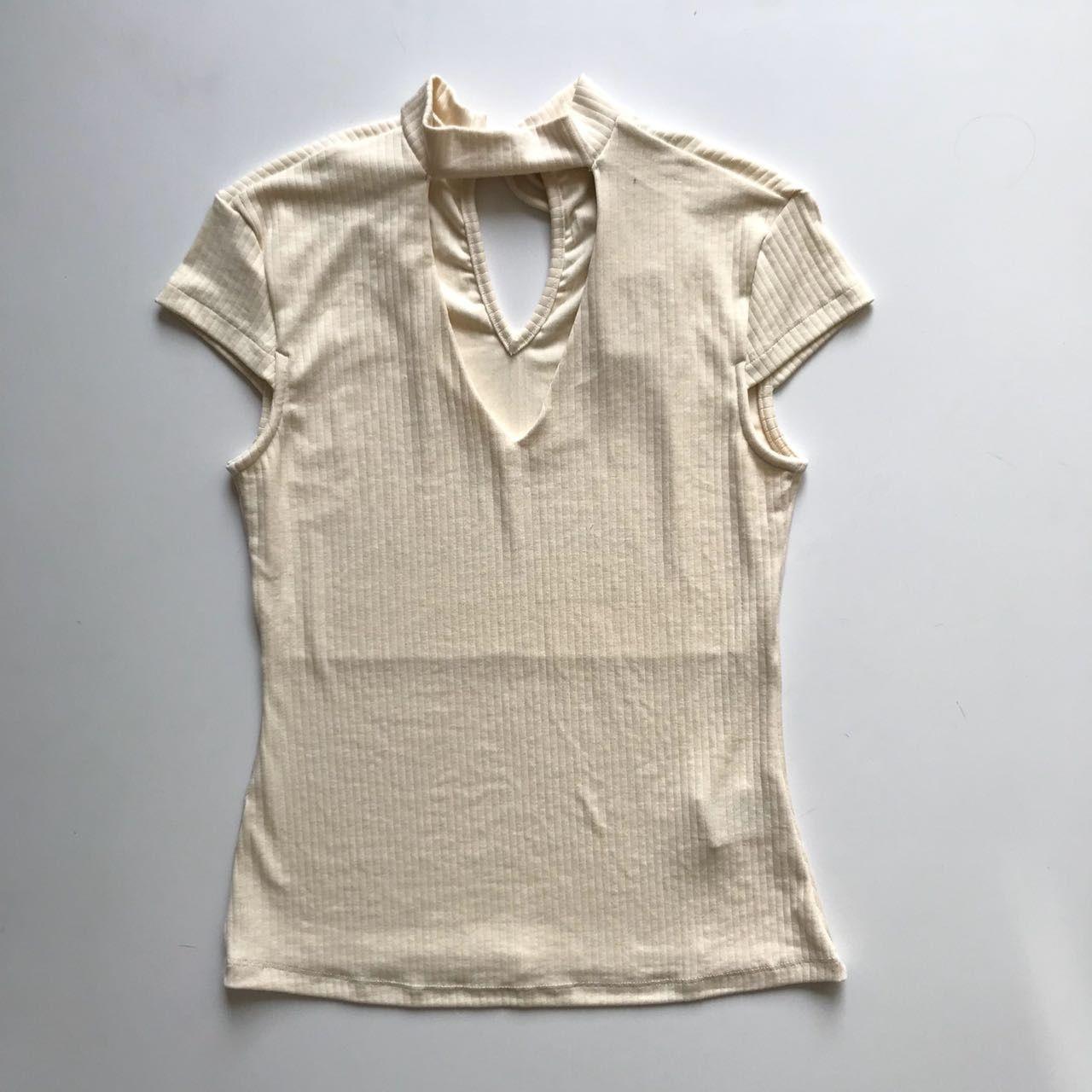 Blusa Canelada Chocker Offwhite