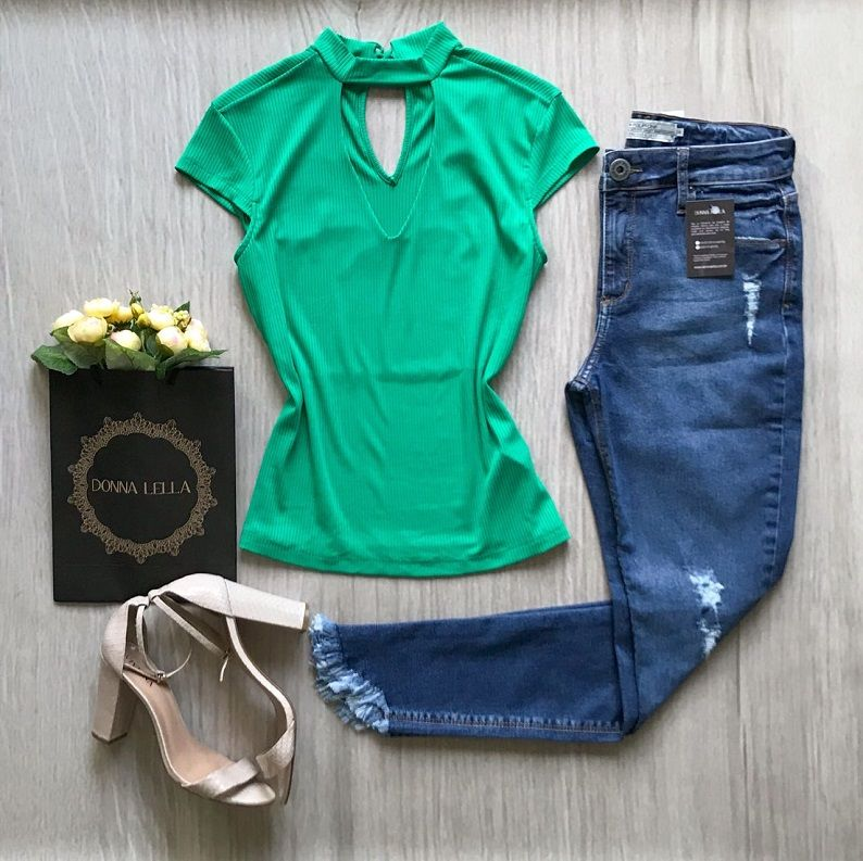 Blusa Canelada Chocker Verde