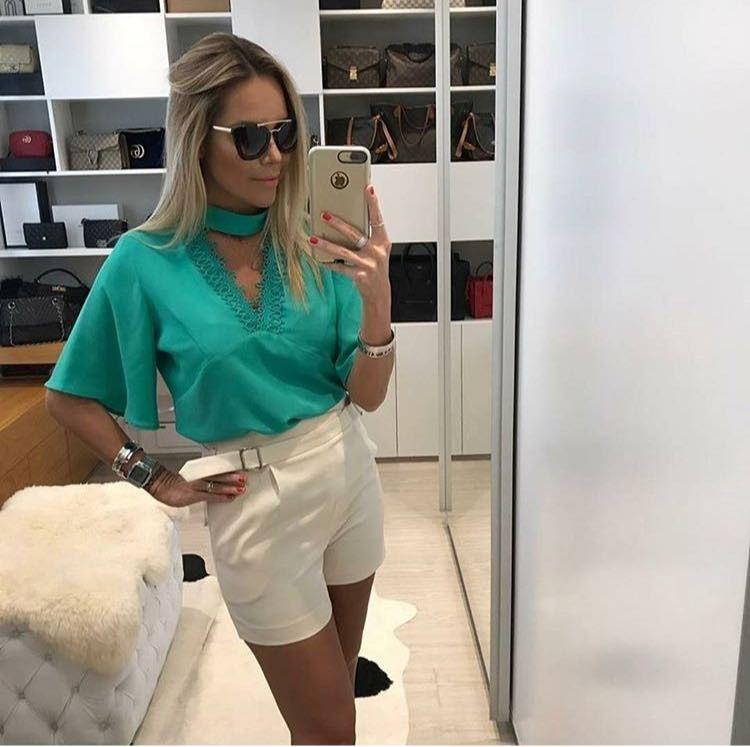 Blusa Crepe Decote Chocker Verde