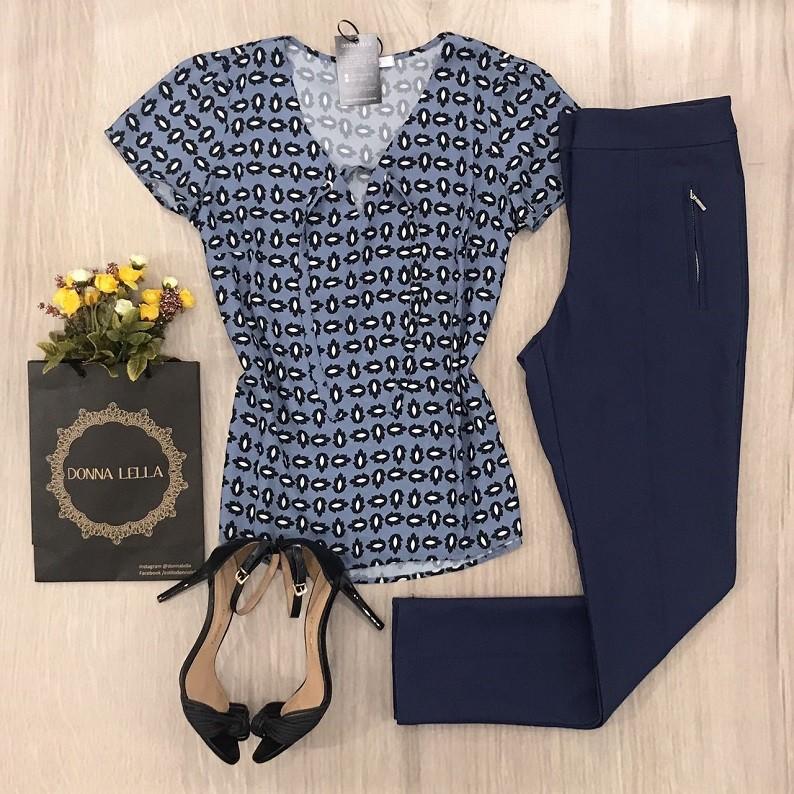 Blusa Crepe Estampa Azul