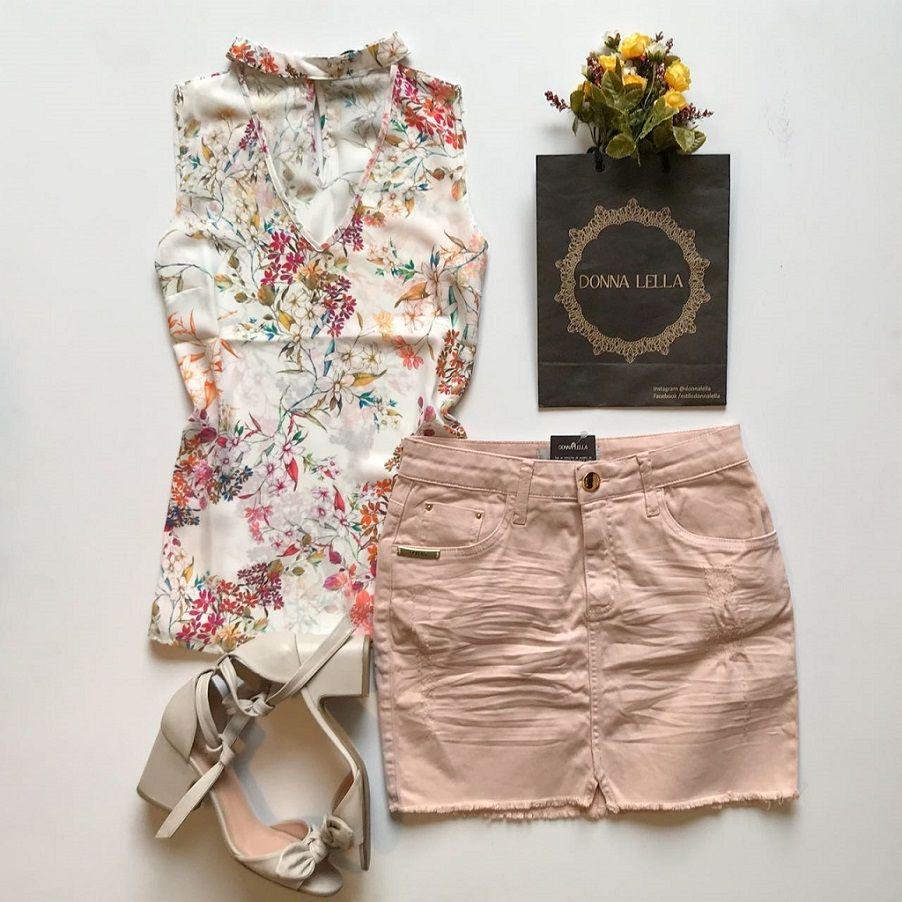 Blusa Crepe Floral Chocker